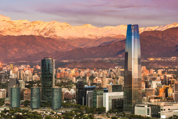 Skyline of Santiago de Chile Skyline of Santiago de Chile at the foots of The Andes Mountain Range and buildings at Providencia district. chile stock pictures, royalty-free photos & images