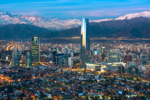 Skyline of Santiago de Chile Panoramic view of Providencia and Las Condes districts with Costanera Center skyscraper, Titanium Tower and Los Andes Mountain Range, Santiago de Chile chile stock pictures, royalty-free photos & images