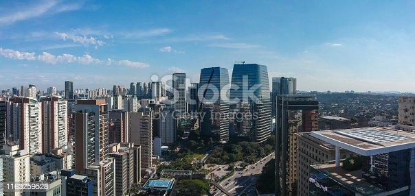 Skyline of Sao Paulo, modern buildings in Itaim Bibi district, near Pinheiros river. Brazil