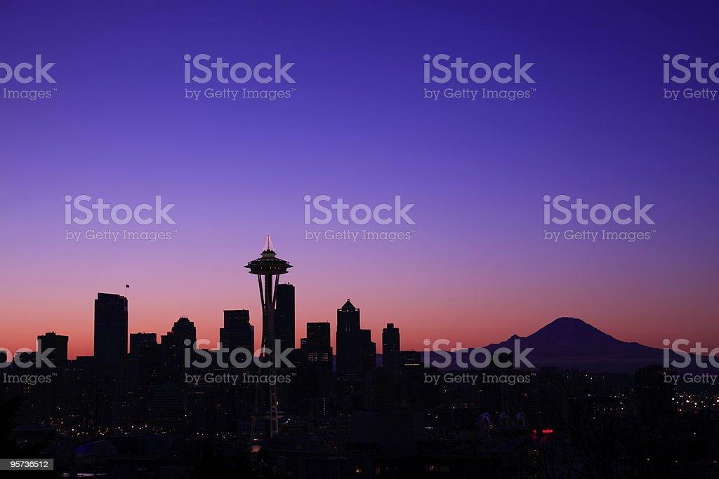 Skyline of Seattle, Washington at sunset royalty-free stock photo
