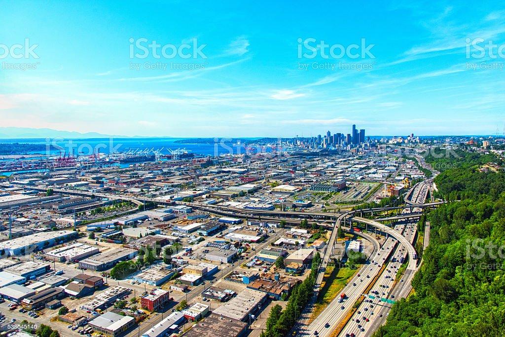Skyline of Seattle Washington stock photo