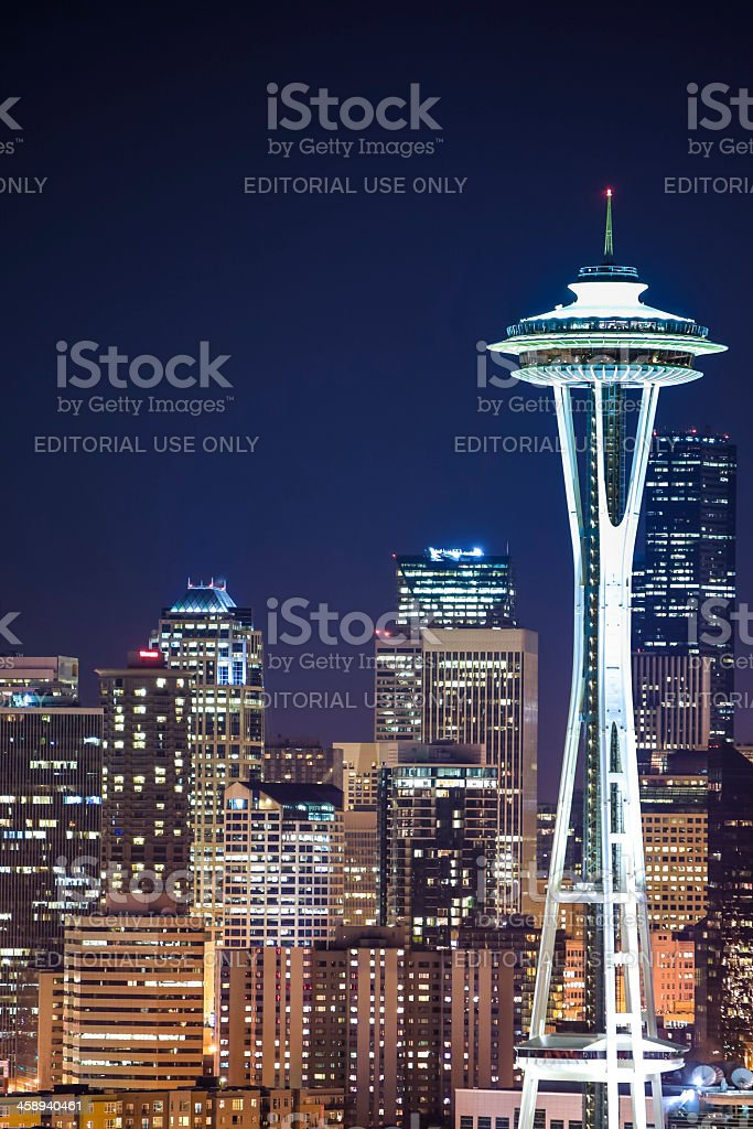 Skyline of Seattle with Space Needle by night stock photo