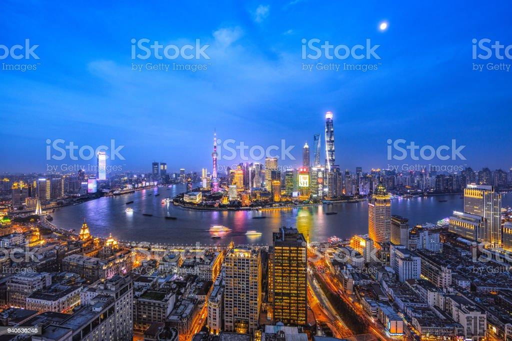 skyline of Shanghai bund and Lujiazui stock photo