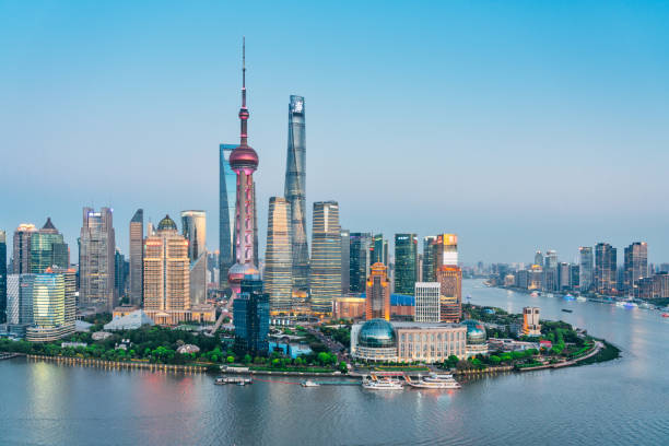 Skyline  of Shanghai, China Skyline at night  Shanghai, China huangpu river stock pictures, royalty-free photos & images