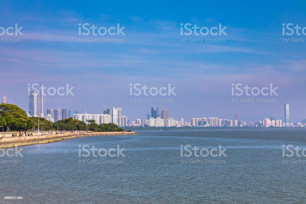Skyline of Shenzhen city from the Shenzhen bay park stock photo