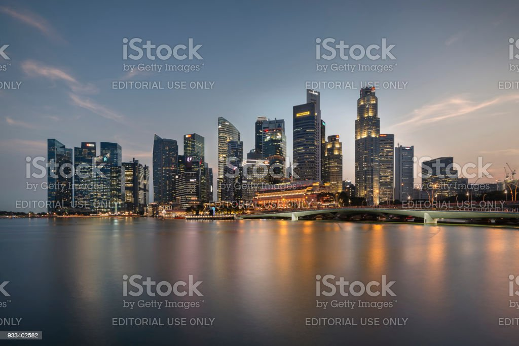 Skyline of Sigapore Business District at Blue Hour stock photo