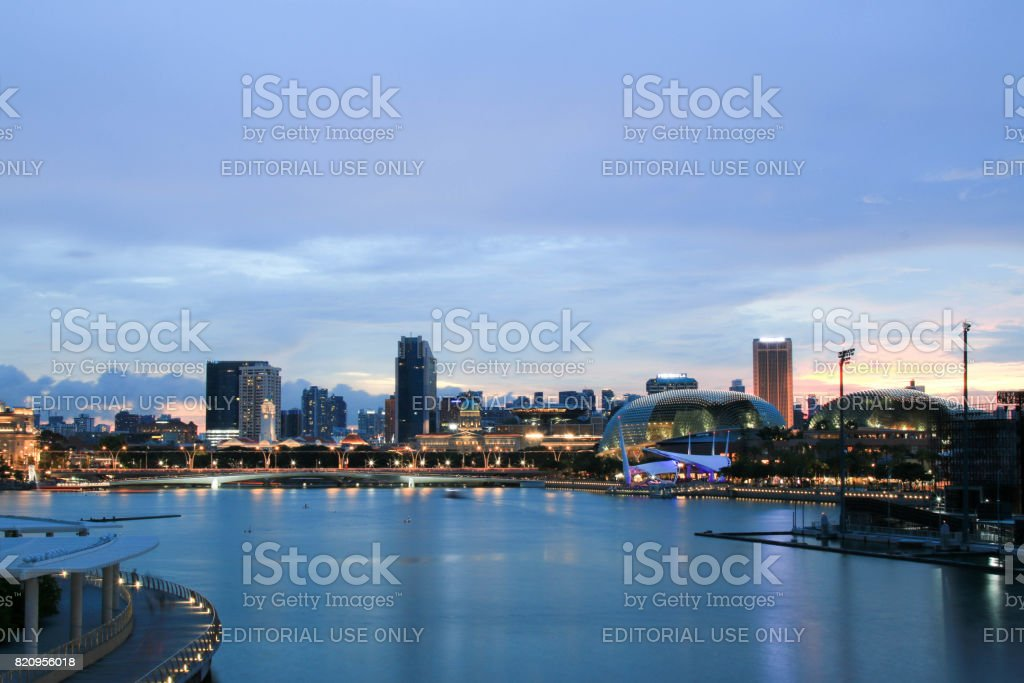 Singapore - JULY 9, 2017 : Skyline of Singapore Downtown with beautiful sunset clouds over it. stock photo