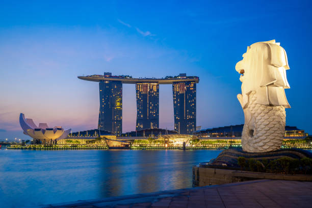 skyline de singapour avec le merlion et sables de nuit - singapour photos et images de collection