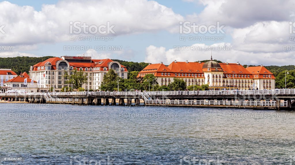 Skyline of Sopot stock photo