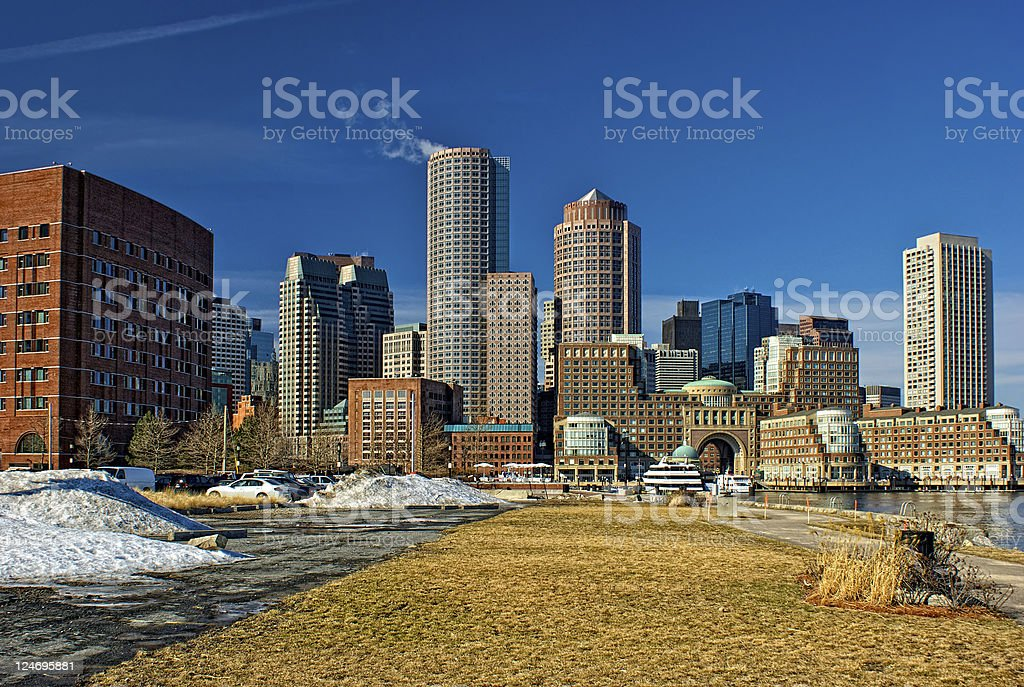 skyline of south boston in winter stock photo