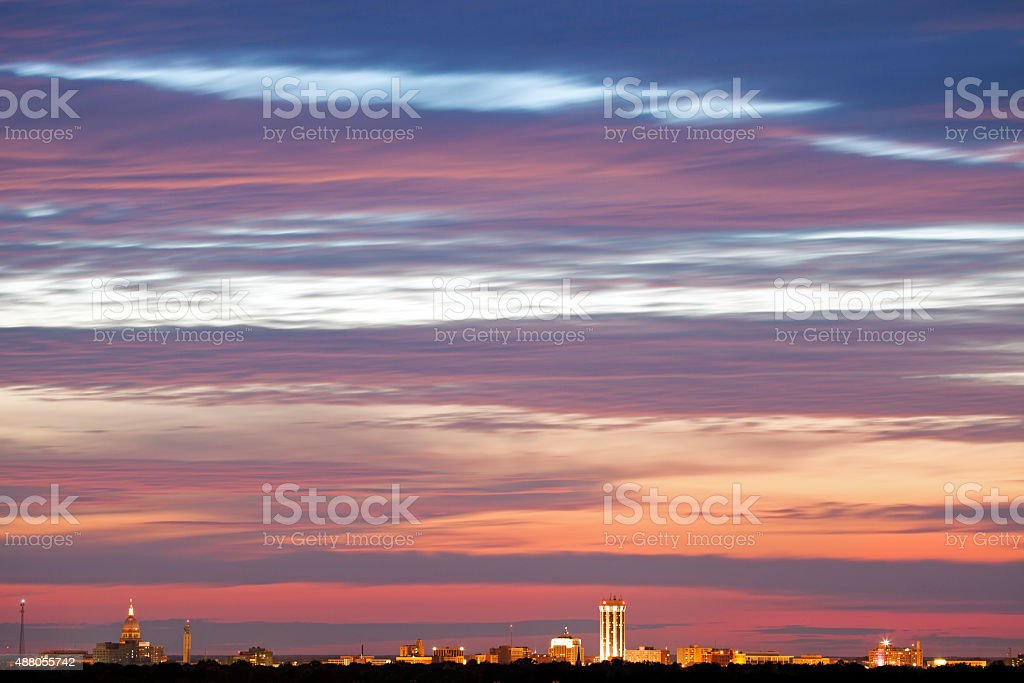 Skyline of Springfield at sunset stock photo