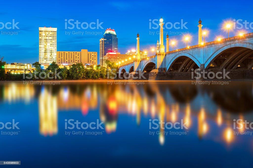Skyline of Springfield Massachusetts at Night stock photo