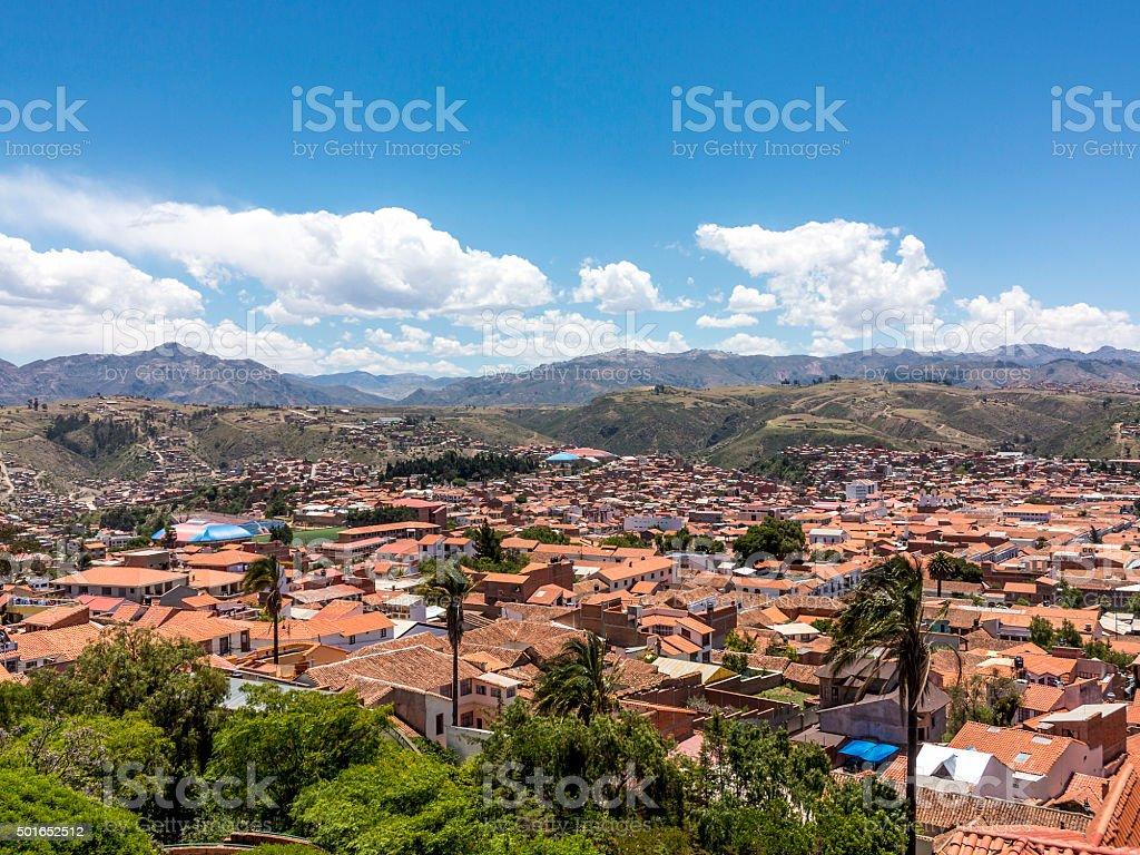 skyline of Sucre, Bolivia stock photo