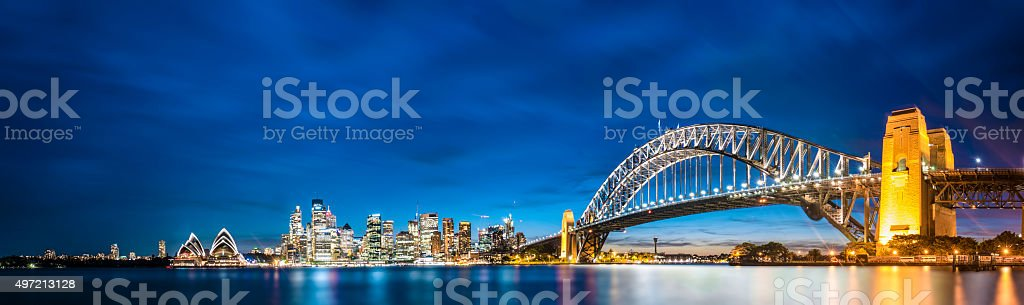 Skyline of Sydney at dusk stock photo