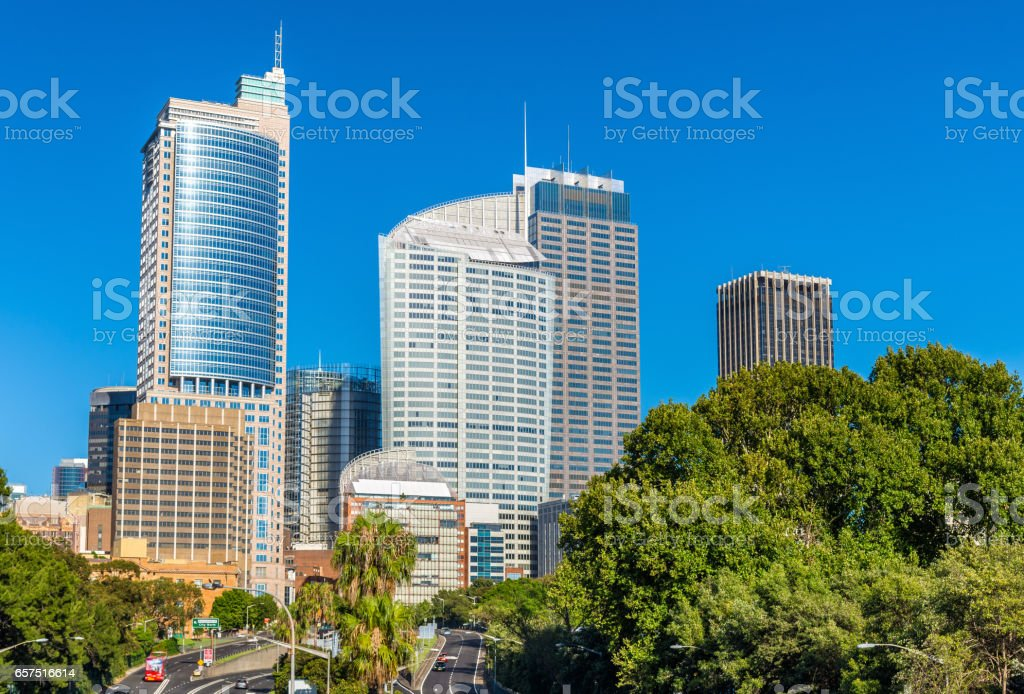 Skyline of Sydney central business district - Australia stock photo