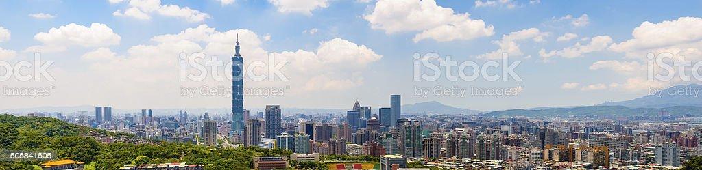 Skyline of Taipei city stock photo