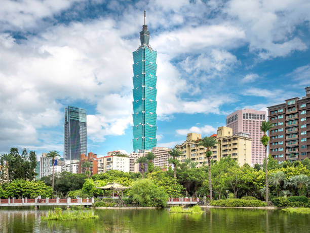 Skyline of Taipei city with the Chinese garden in Taiwan. stock photo