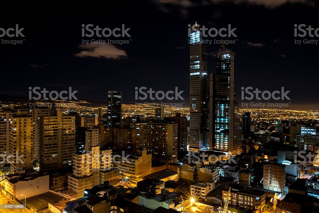 Skyline of the capital of Colombia, Bogota at night stock photo