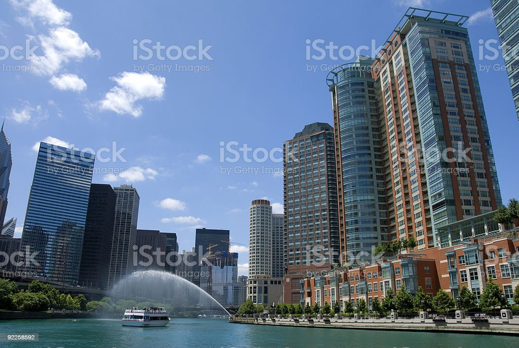 Skyline of the Chicago River featuring buildings royalty-free stock photo