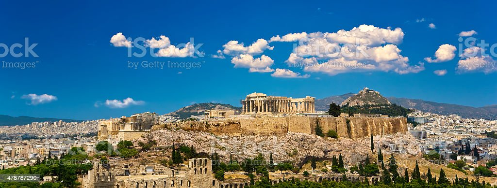 Skyline of the city of Athens stock photo