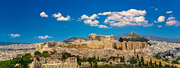Skyline of the city of Athens Greece. Athens. Cityscape with the Acropolis of Athens (seen from Philopappos Hill) ancient greece stock pictures, royalty-free photos & images