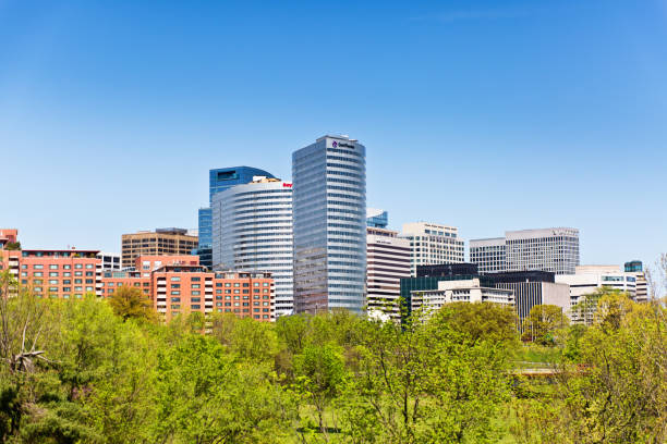 Skyline of the City of Reston, Virginia, USA stock photo