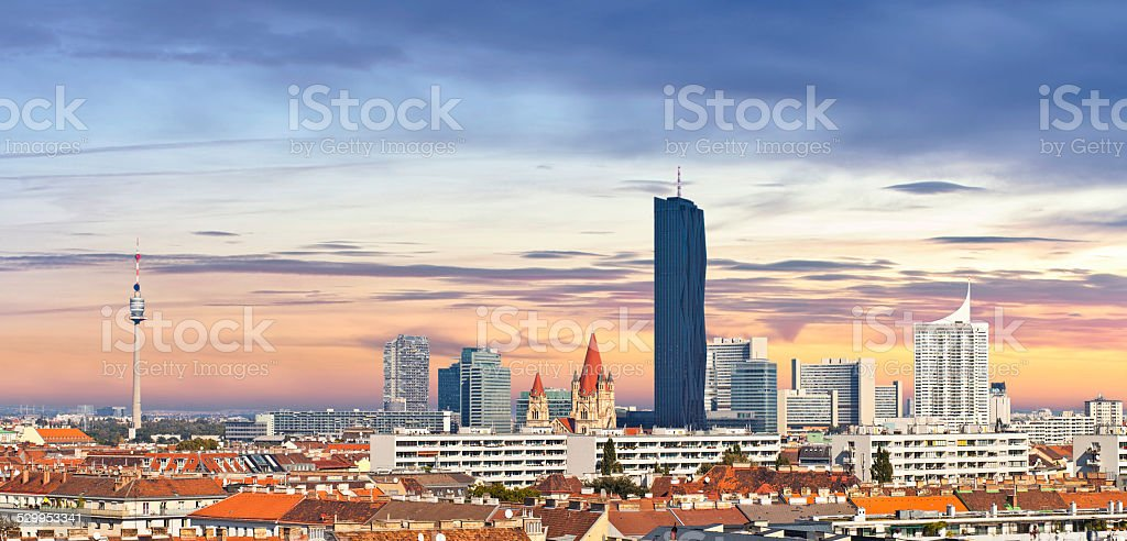 Skyline of the Danube City of Vienna stock photo