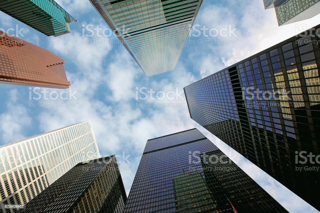 Skyline of the financial district stock photo
