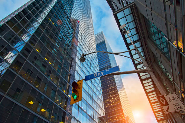 skyline of the financial district - toronto stock pictures, royalty-free photos & images