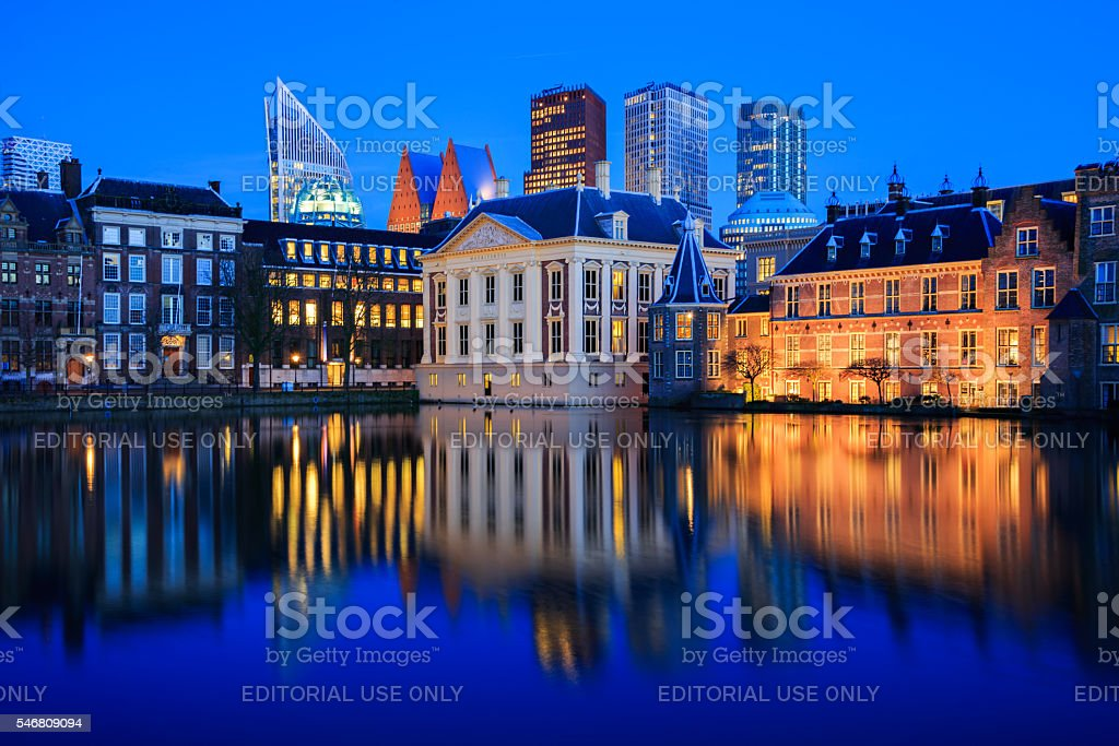 Skyline of The Hague at dusk during blue hour stock photo