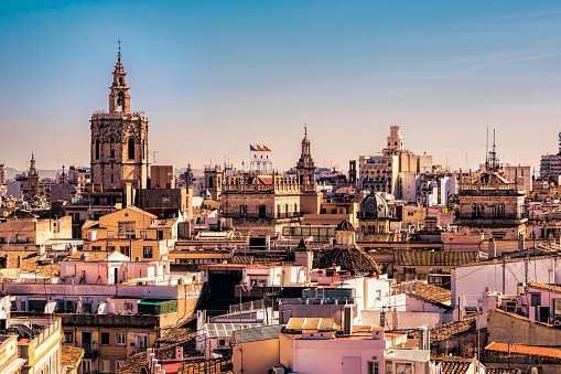 Skyline Of The Old City District In Valencia Spain