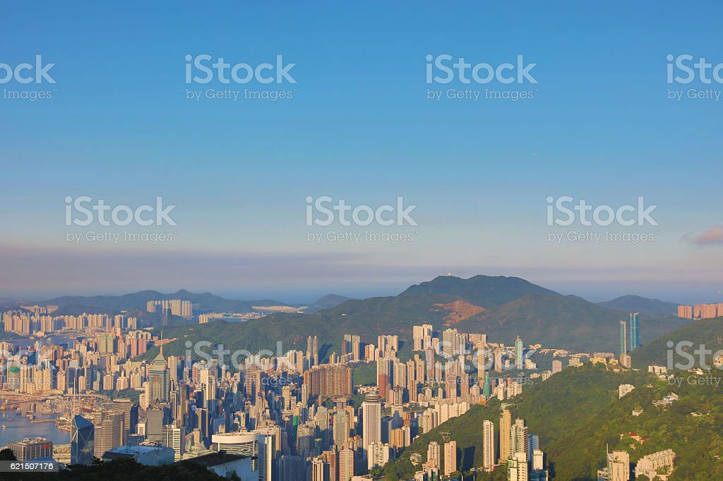 Skyline of the skyscrapers from Peak foto stock royalty-free