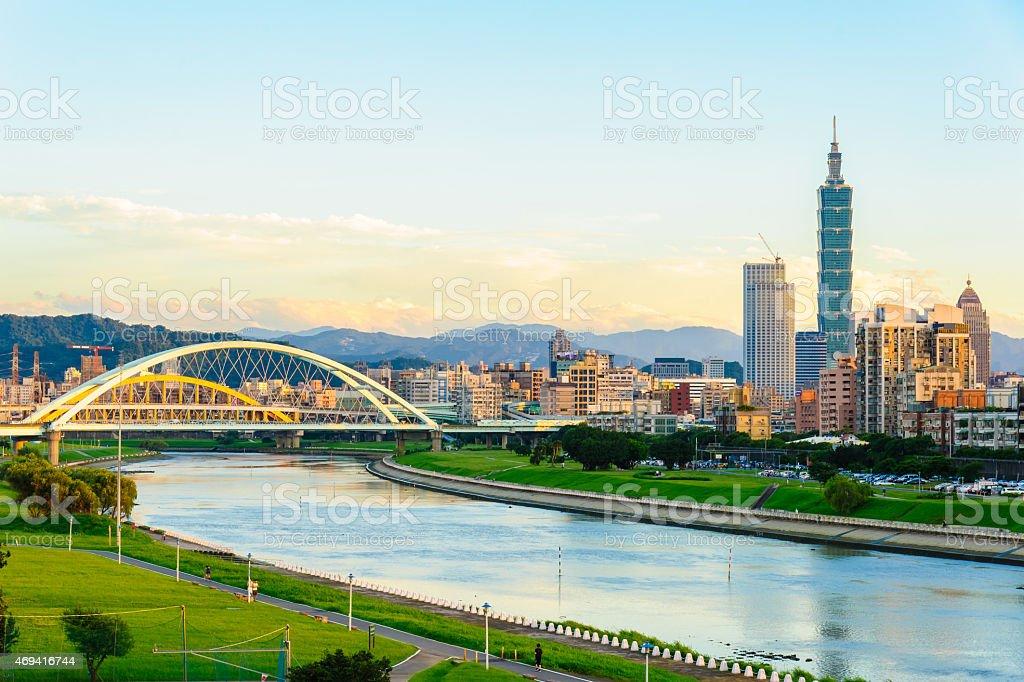 skyline of the Taipei city stock photo
