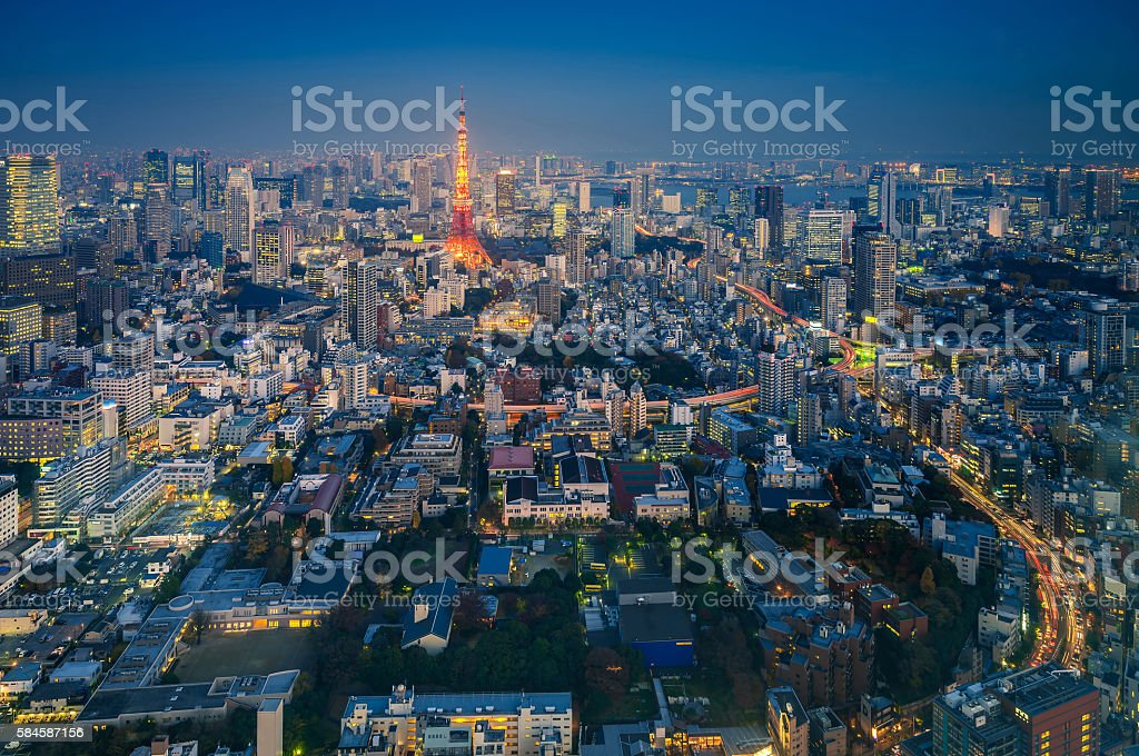 Skyline of Tokyo Cityscape with Tokyo Tower at Night, Japan stock photo