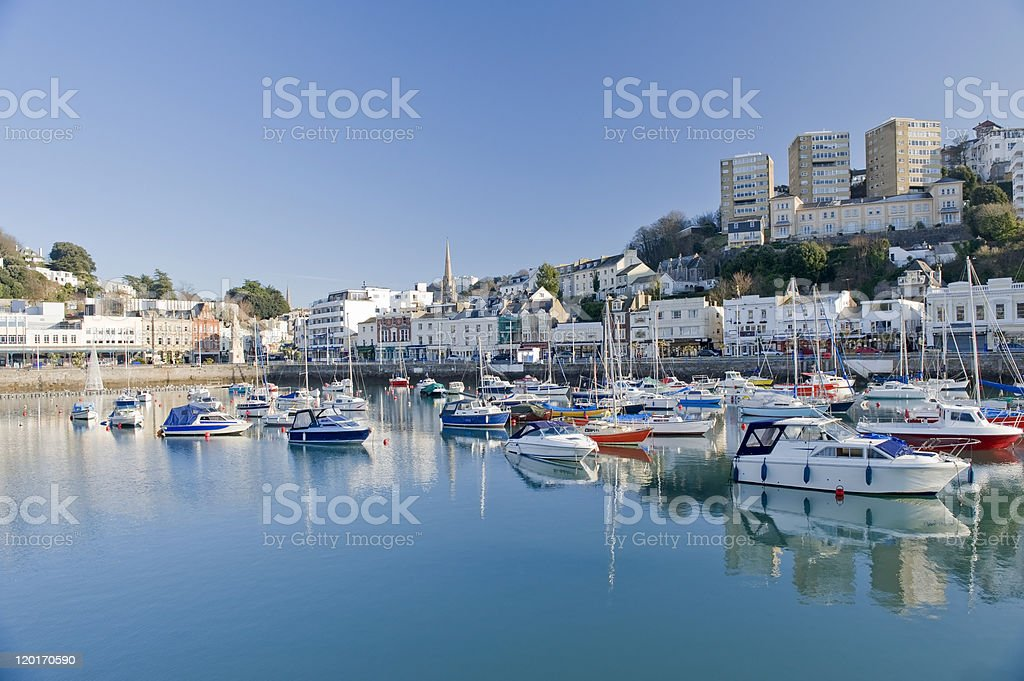 Skyline of Torquay Inner Harbor stock photo