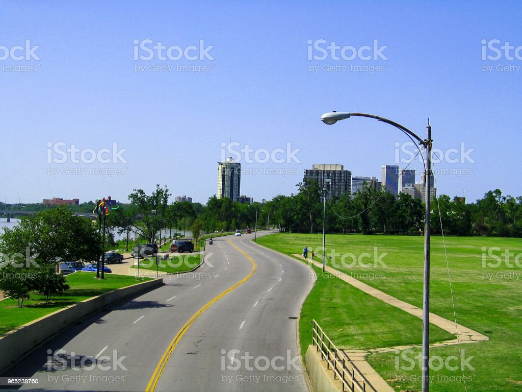 Skyline of Tulsa Oklahoma from pedestrian bridge in 2008 - historical View that of what is now been built up royalty-free stock photo