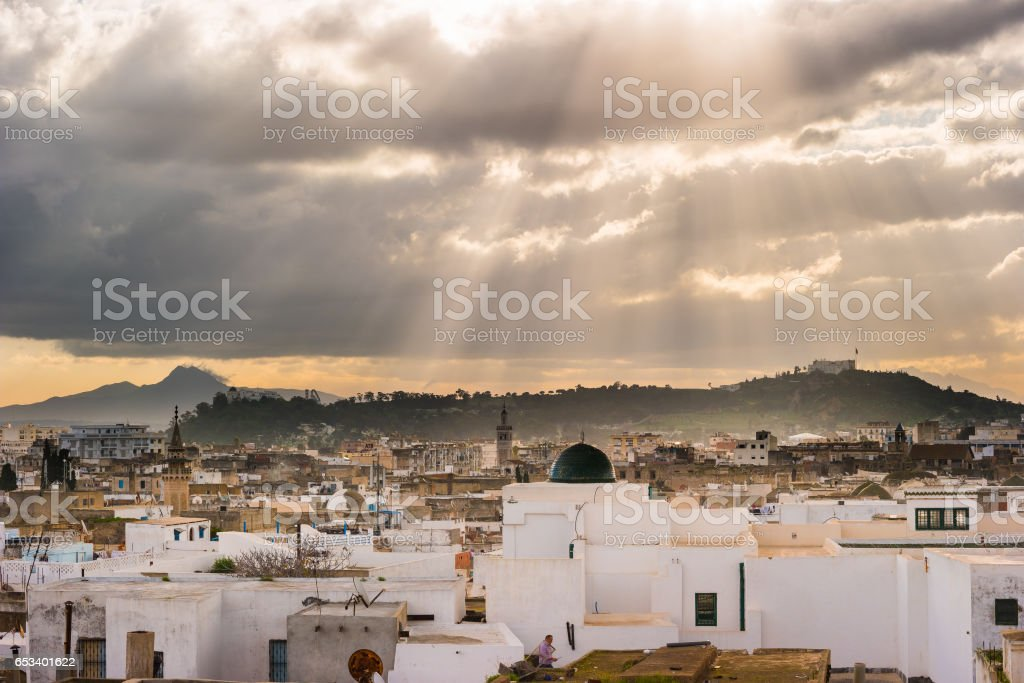 Skyline of Tunis at dawn stock photo