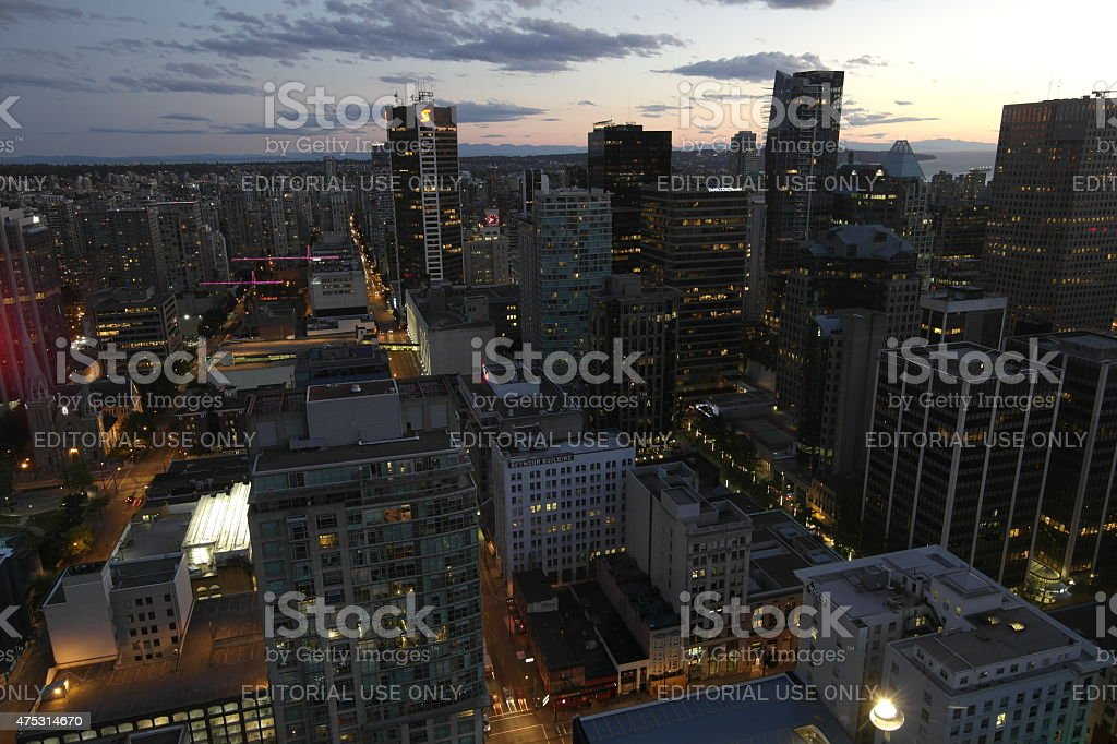 Skyline of Vancouver at night stock photo