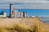 Beach and skyline of Vlissingen, Zeeland, Netherlands