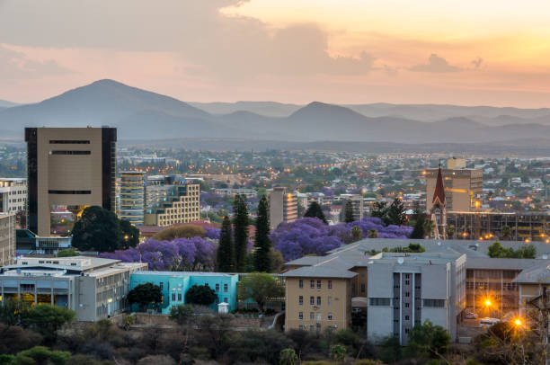 Skyline of Windhoek City at Sunset Capital City of Namibia, Southern Africa namibia stock pictures, royalty-free photos & images