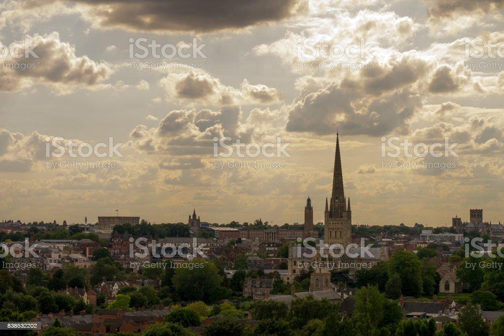 Skyline over Norwich, Norfolk, UK stock photo