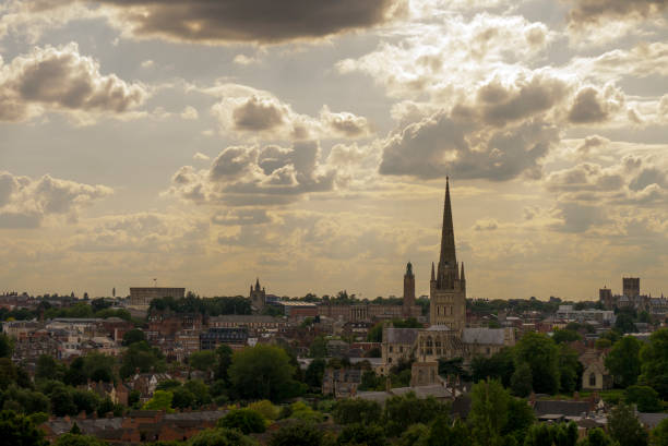 Skyline over Norwich, Norfolk, UK View from St James' Hill, Norwich. Looking over the city including the cathedral, castle and city hall. skeable stock pictures, royalty-free photos & images