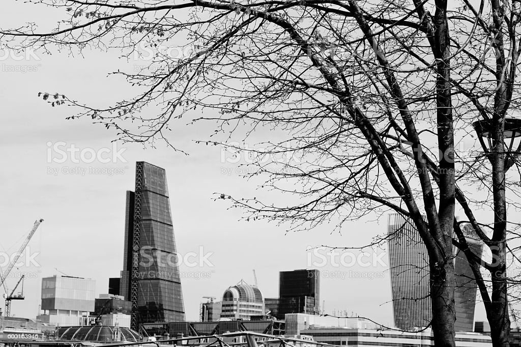Skyline over the Thames in London stock photo