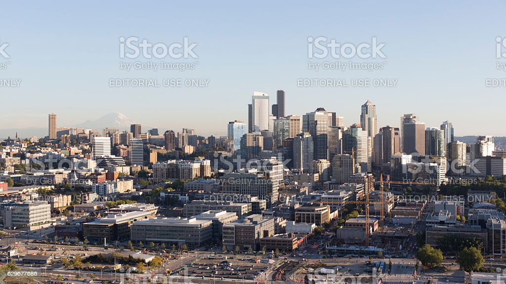 Skyline Panorama of the Seattle Downtown Financial District stock photo
