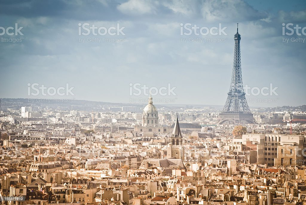 Skyline Paris France and The Eiffel Tower royalty-free stock photo