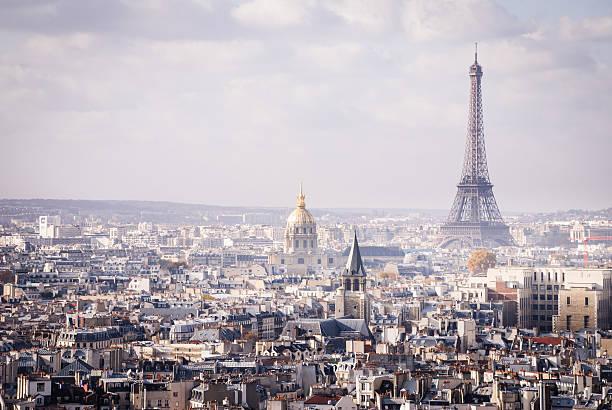 Skyline Paris France and The Eiffel Tower stock photo