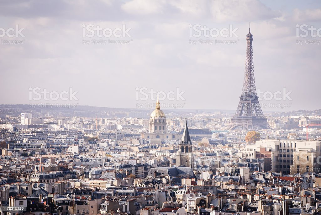 Skyline Paris France and The Eiffel Tower stock photo