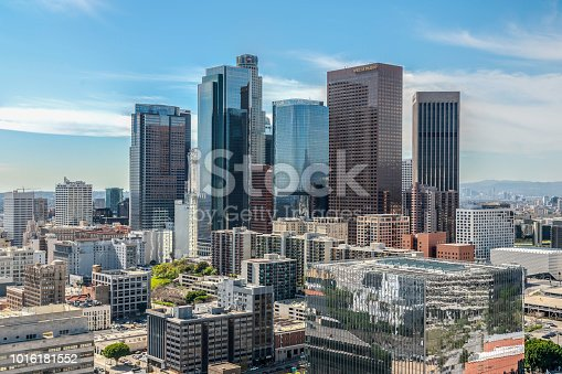 Los Angeles Skyline, tall buildings featuring reflections from other buildings, March 2, 2017, Los Angeles, Caliornia, USA