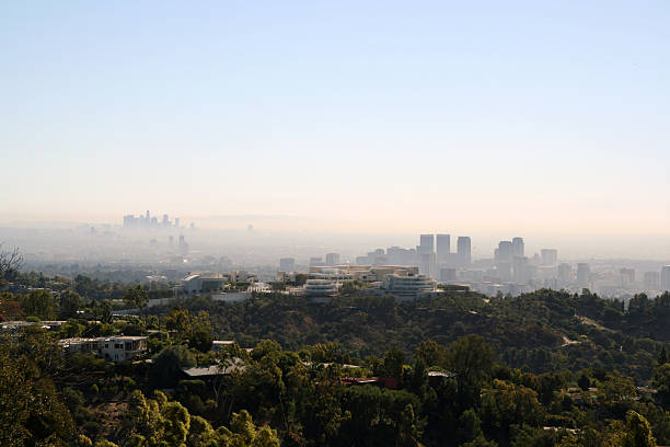 LA Skyline Los Angeles skyline on a hazy day westwood neighborhood los angeles stock pictures, royalty-free photos & images
