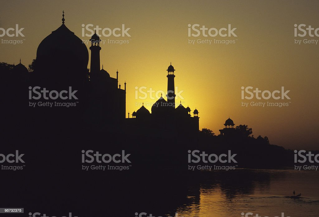 Skyline silhouette of Taj Mahal, Agra, India at the sunset royalty-free stock photo